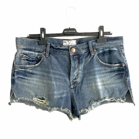 FREE PEOPLE Cut Off Denim Shorts Destroyed Blue